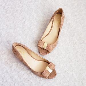 Kate Spade Cork Peep Toe Bow Wedge Size 7.5